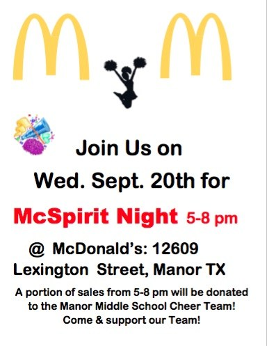Manor Middle School McSpirit Night at McDonalds Wednesday September 20 Thumbnail Image