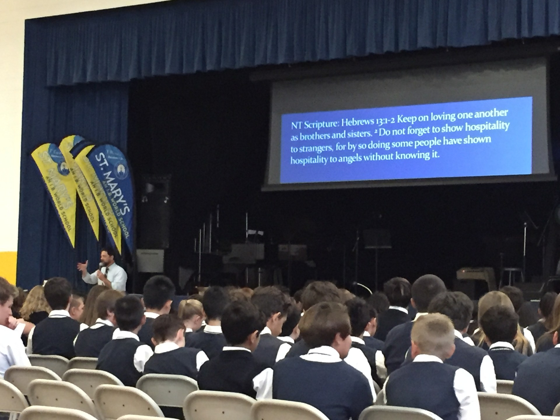 Chapel in the gym with students