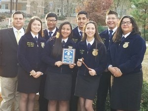 Pictured are Mission High School FFA Sr. Parliamentary Procedure team.