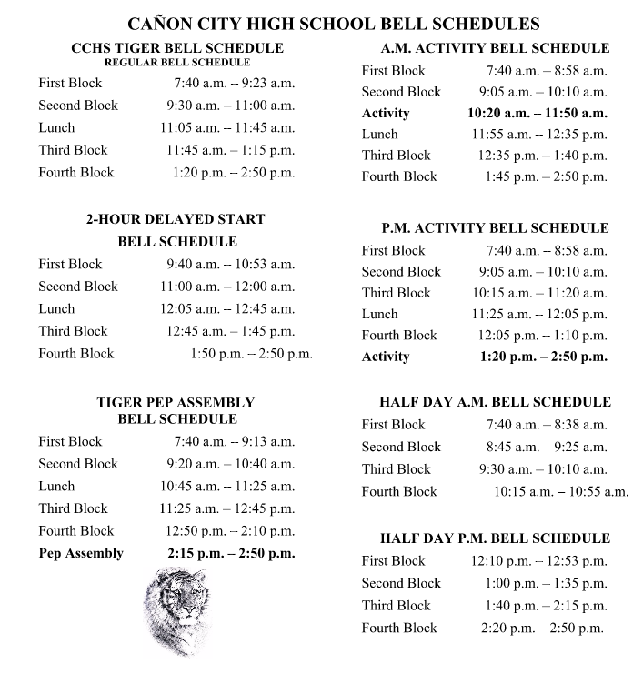 Displays the CCHS Bell schedules