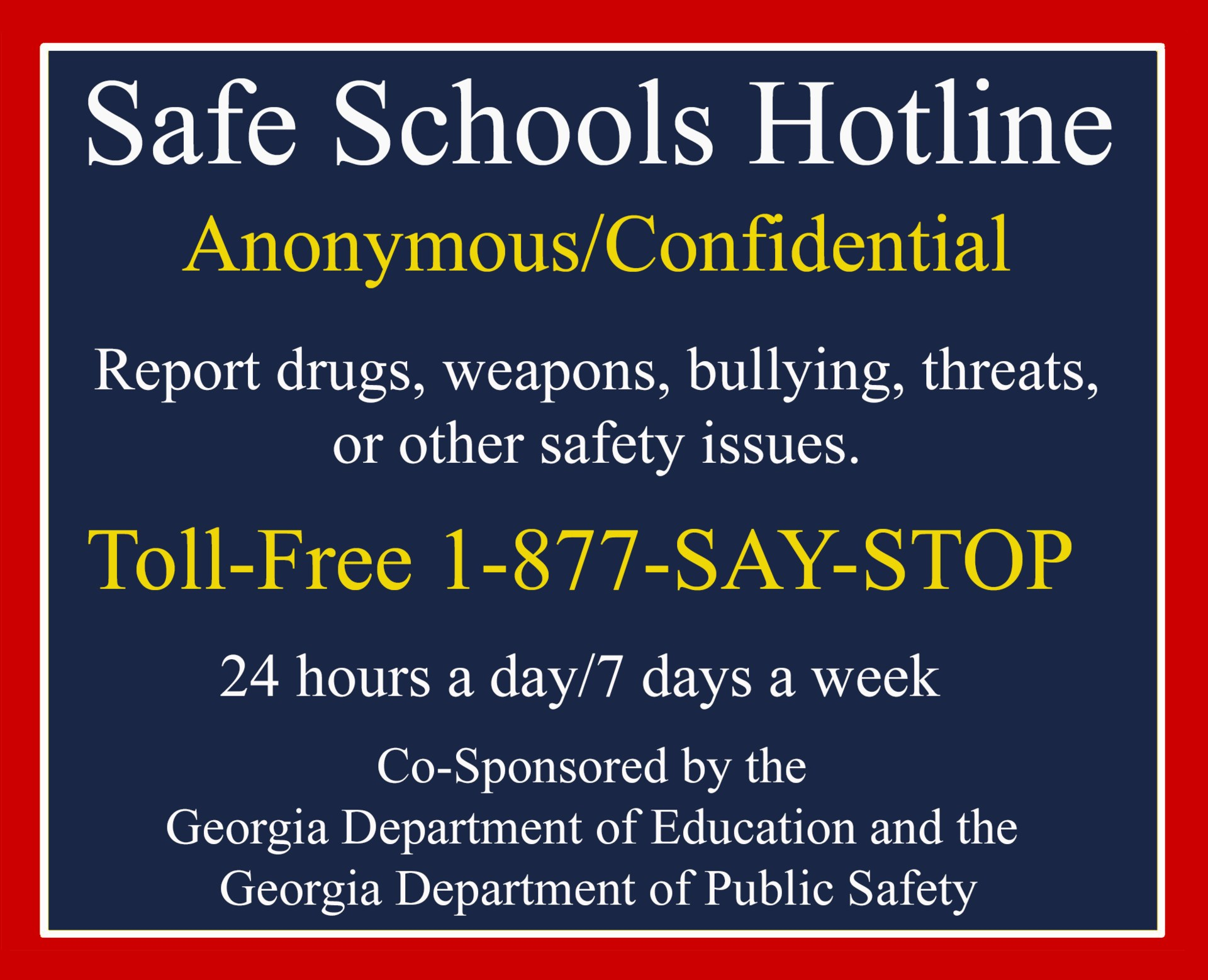 School safety hotline poster