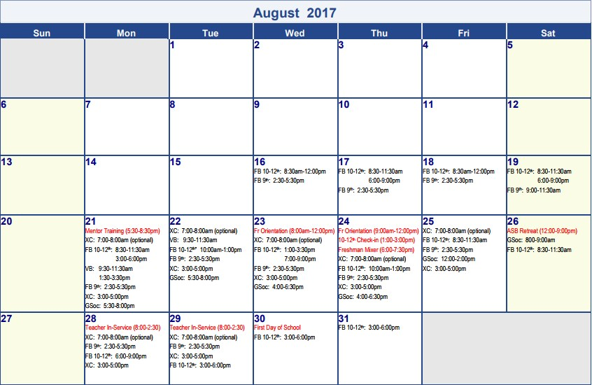 August: 2 week schedule