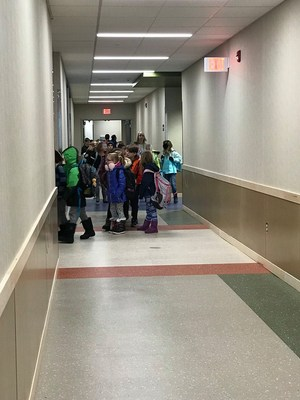 Students on their way to the new classrooms at Midway.
