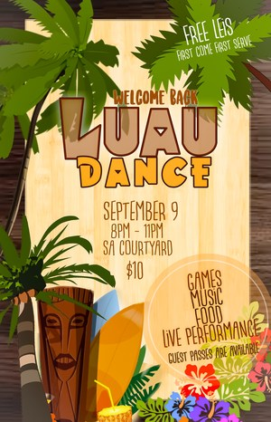 Welcome Back Luau Dance Poster.JPG