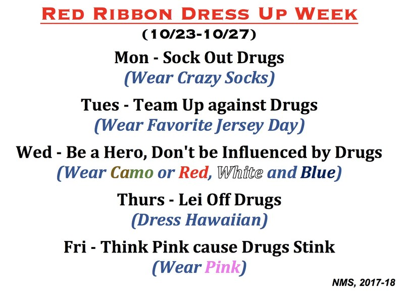 red ribbon dress up week