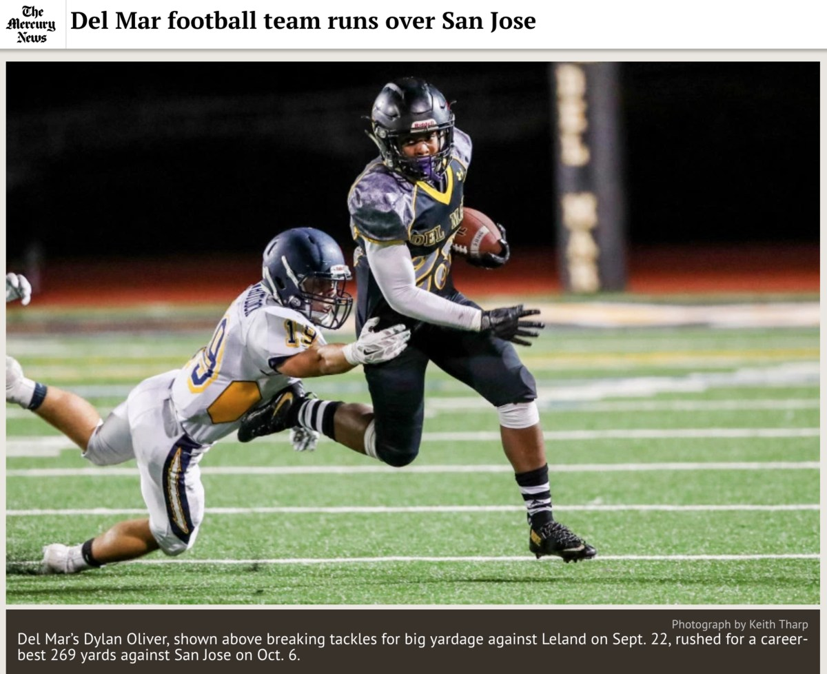 Image of Del Mar football player breaking tackles on September 22, 2017, as featured in the San Jose Mercury News