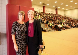 Superintendent Christi Barrett and West Valley Principal Janice Jones at freshman orientation.