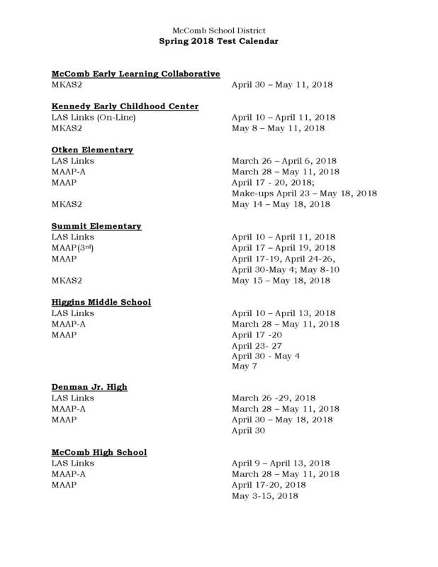 Spring Test Calendar