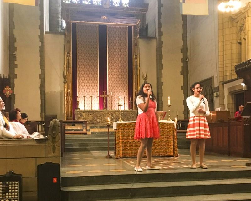 Student performing at church