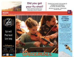 Screenshot of the 9-R meal calendar showing a girl playing violin and advertisements from local sponsors.