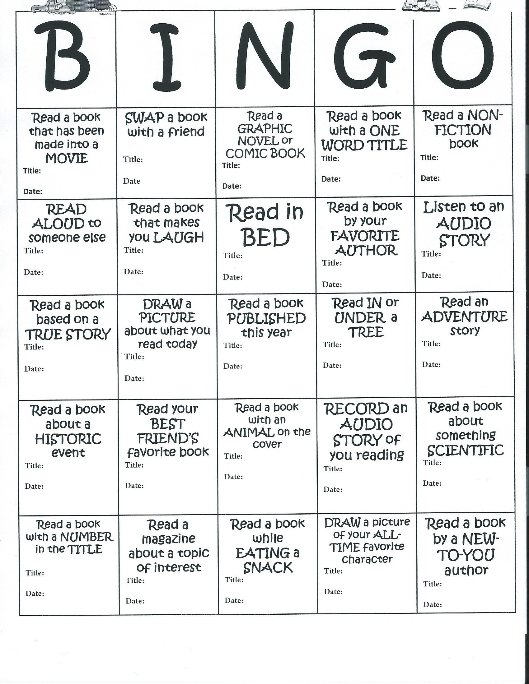 Summer Bingo Reading