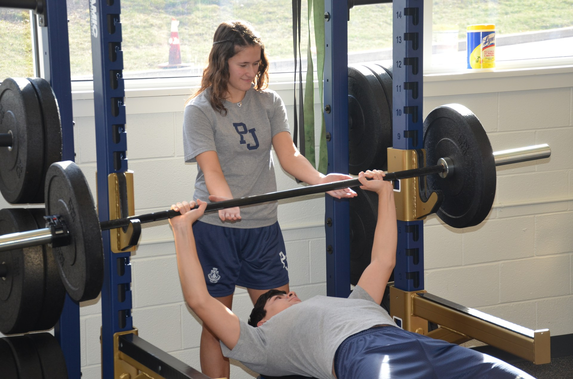 Students on bench press