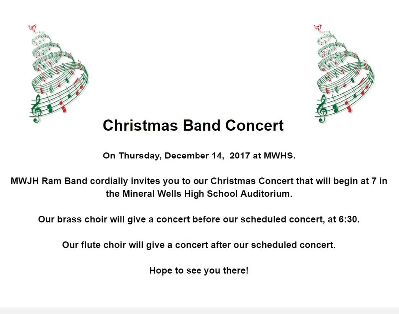 a band flyer with details of the band concert on Thursday, December 14, 2017