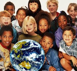 multicultural children around a globe
