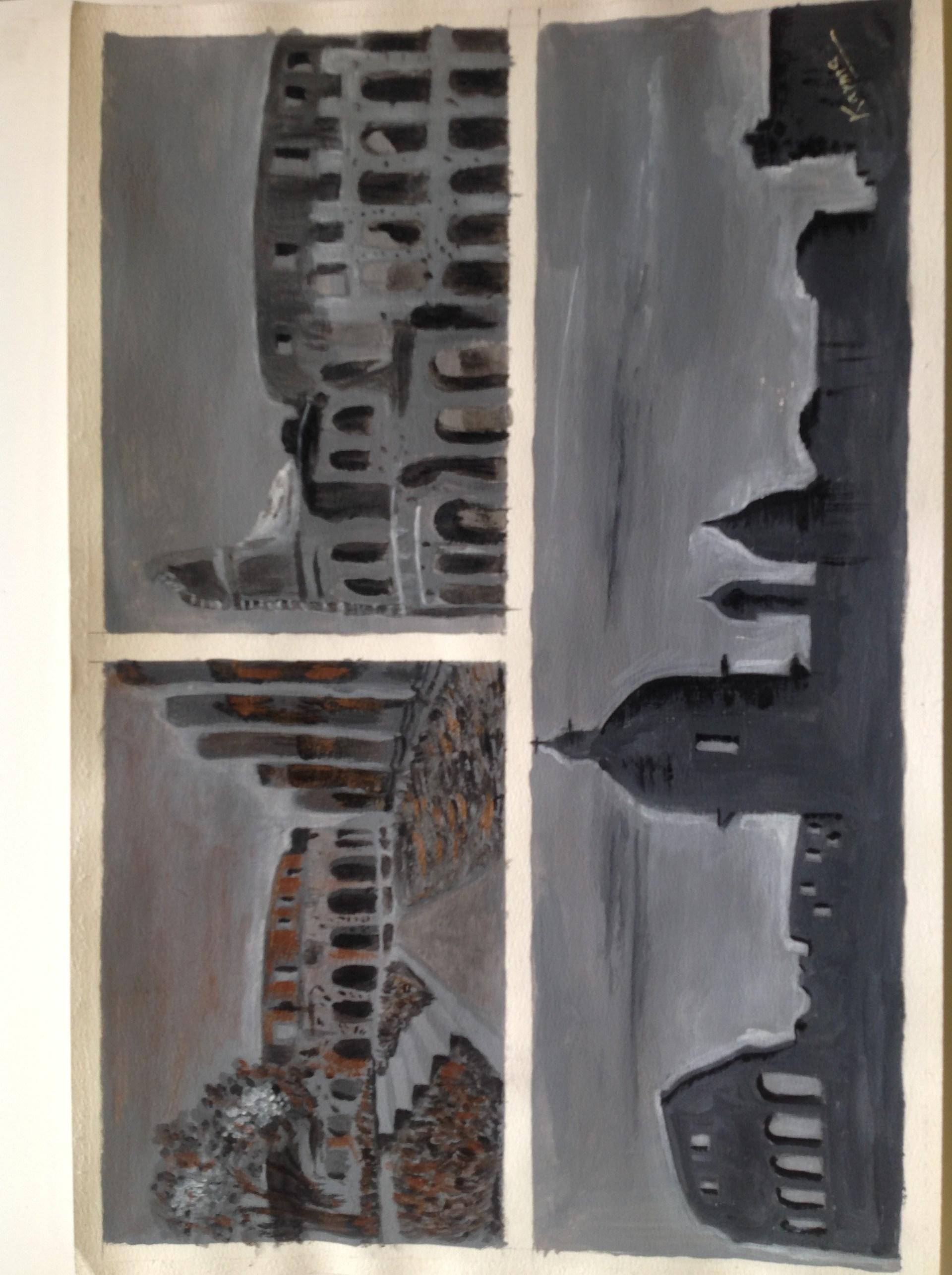 Three views of city greytine painting.