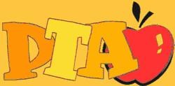 clipart image of the letters PTA with an apple