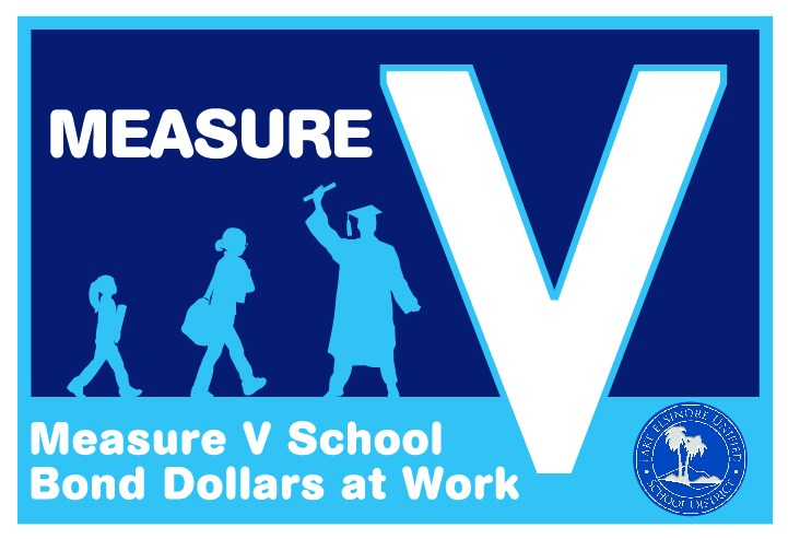 Logo with tag saying, Measure V School Bond Dollars at Work