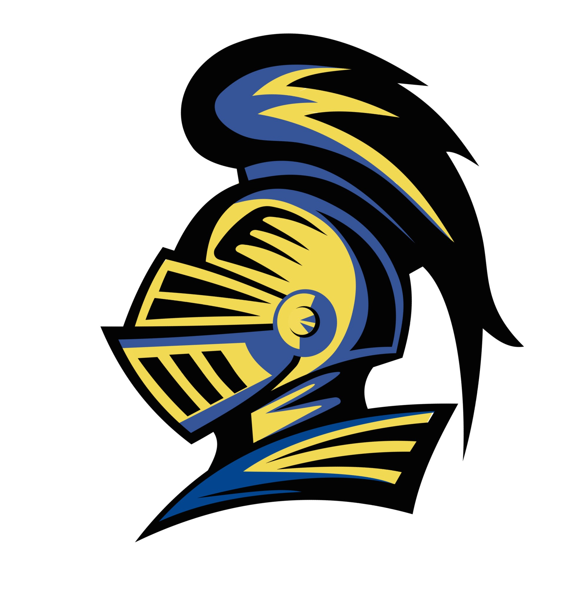 Blue and gold knight armor head