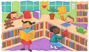 Clip art of children in a library