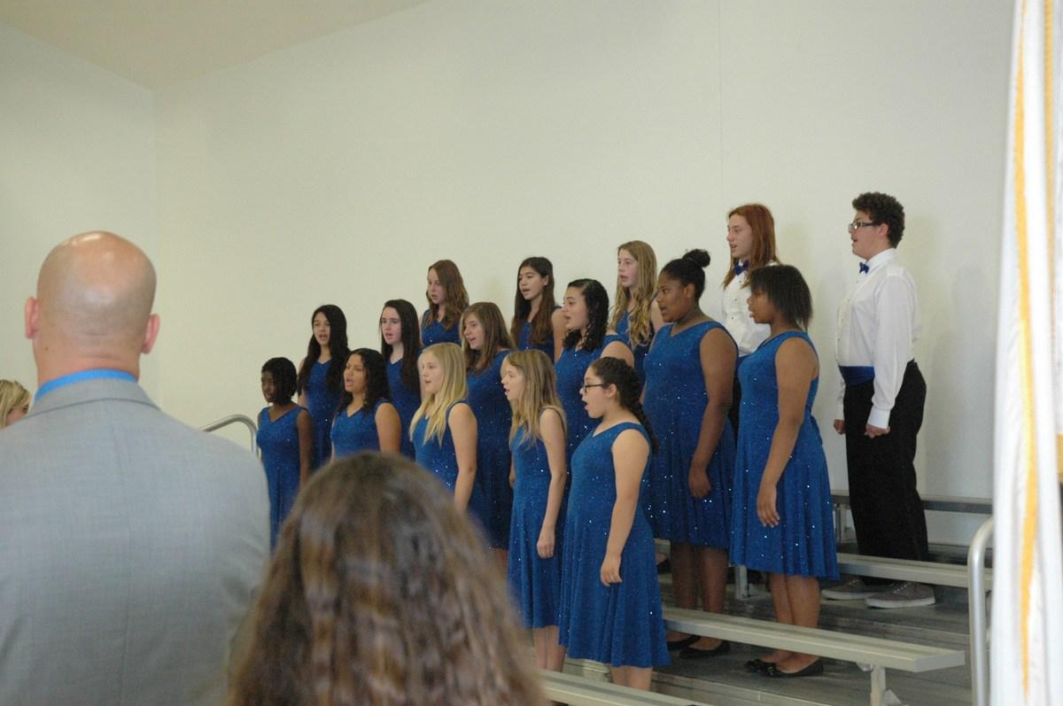 Acacia MS Choir singing National Anthem