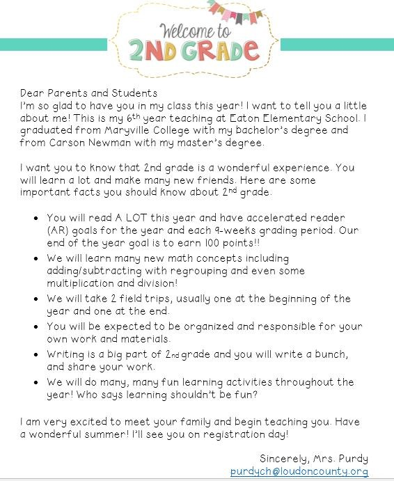 welcome welcome letter 2nd grade