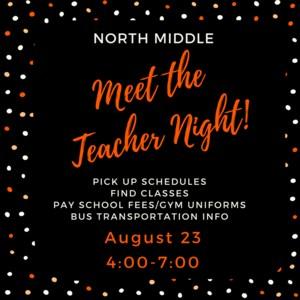 NDMS Meet the Teacher Night. August 23, 2018. 4:00-7:00 pm. Pick up schedules. Meet teachers. Get bus information. Pay school fees.