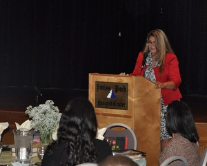 BPUSD_ECE_2: Baldwin Park Unified parent Annalynn Apolinario describes the power of the Early Childhood Education program's partnership with parents during the group's annual community partnership recognition lunch, held April 19.
