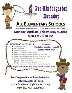 Pre-Kindergarten Roundup Flyer