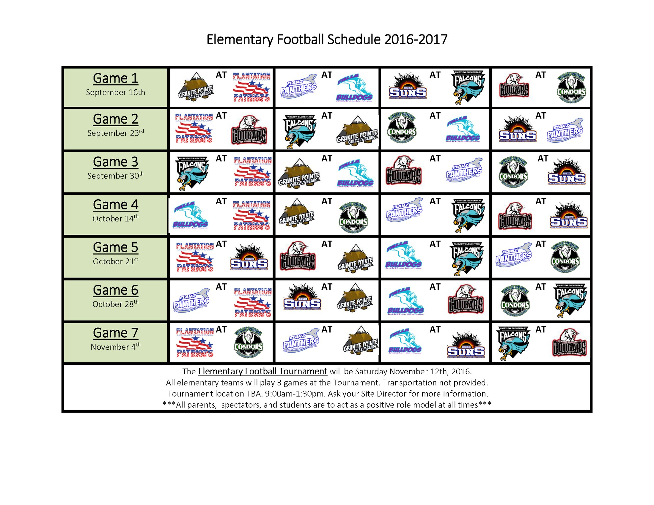 Elementary Football Schedule for the 2016 2017 school year.