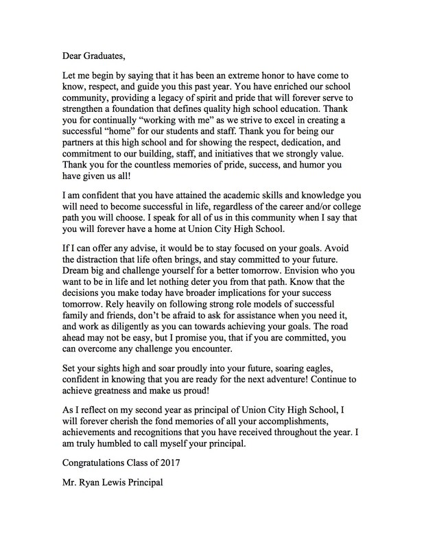 photo of letter to graduates from mr. lewis
