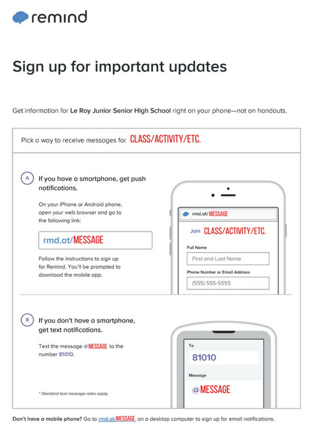 Remind App Instructions