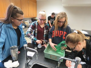 TKHS students create hydrogen to propel a plastic bottle.