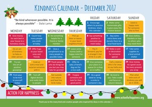Kindness calendar that the students followed in December.