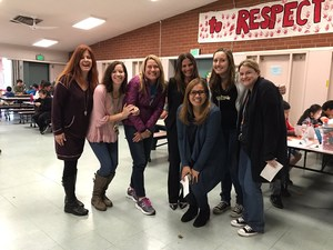 Ms. Cordova, Mrs. Fellowes, Mrs. Shook, Dr. Jacobson, Mrs. Magpile, Mrs. Kapustin, and Ms. Pyle enjoying STEM Night