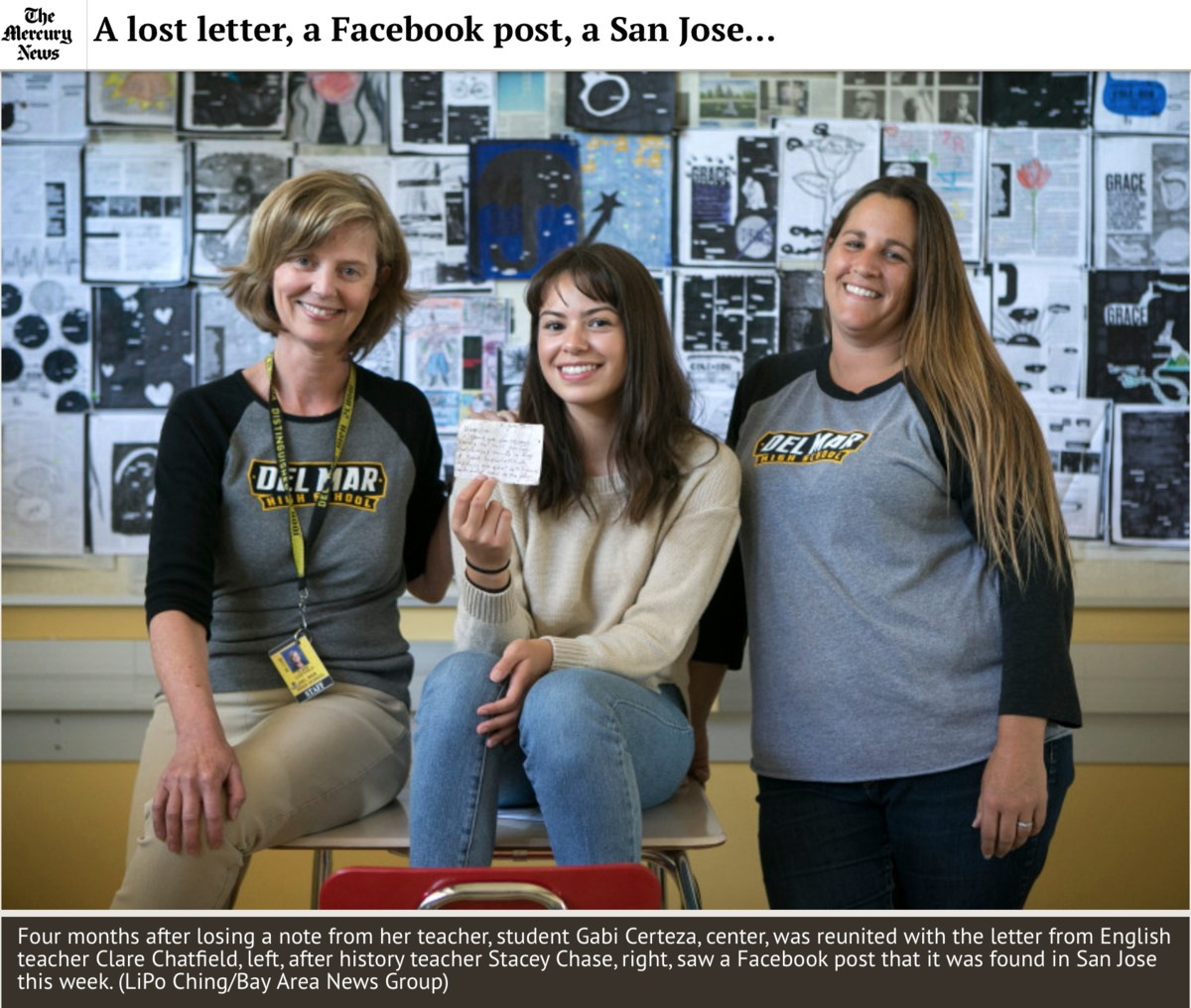Image of Student, Gabi, with teachers Clare Chatfield and Stacey Chase, as featured in the San Jose Mercury News