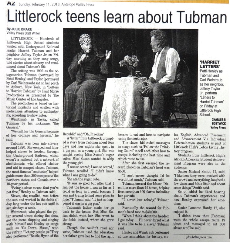 LHS Presentation - Letters to Harriet Tubman - AV Press Article