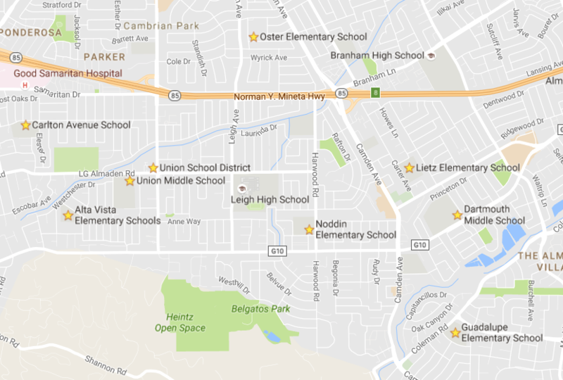 Google Map of Union School District boundaries
