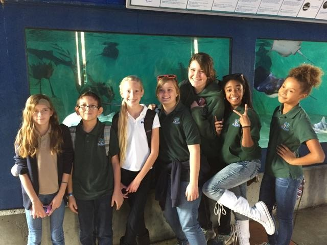 Students on a field trip to an aquarium