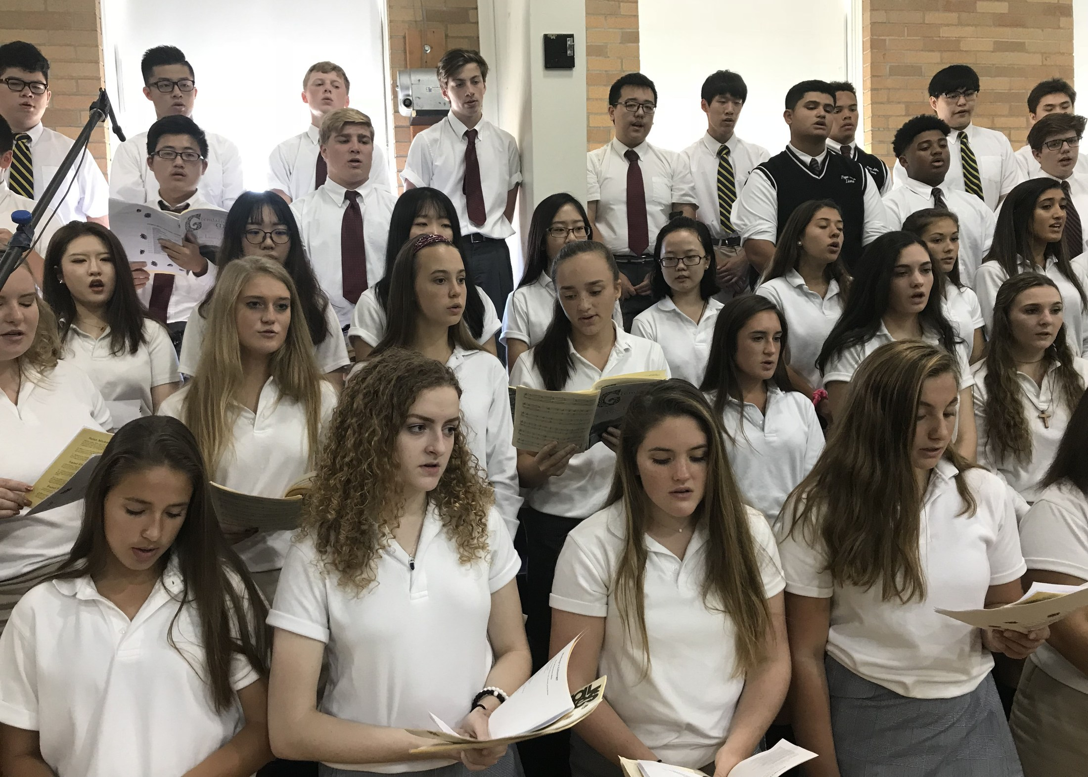 Mixed choir singing in mass
