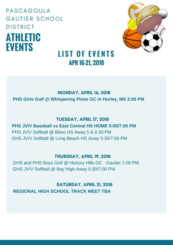 Athletic Events Week of April 16-21, 2018
