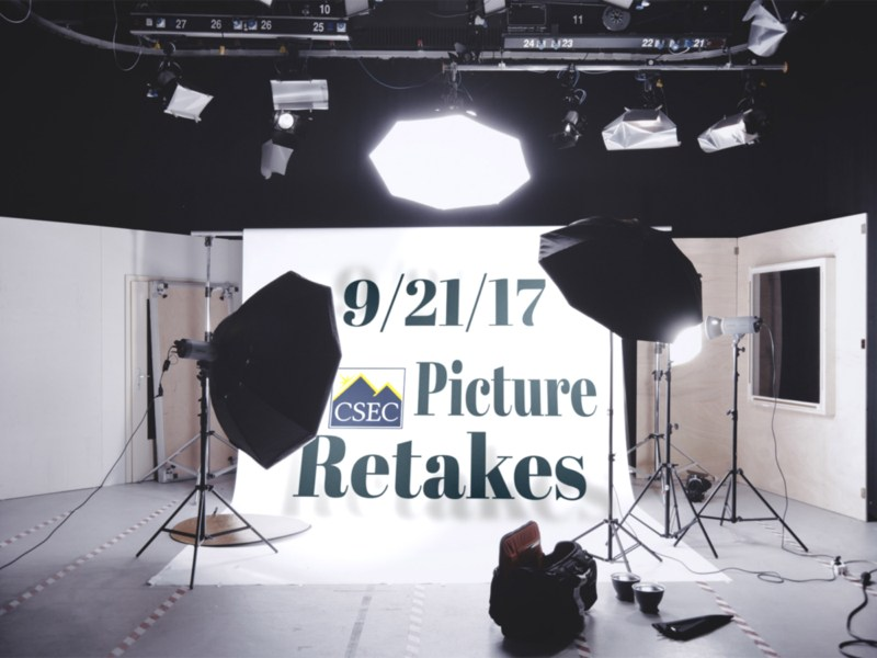 Backdrop with photo lights and text saying September 21, 2017 picture retakes
