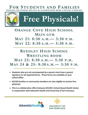 Free Physicals flyer