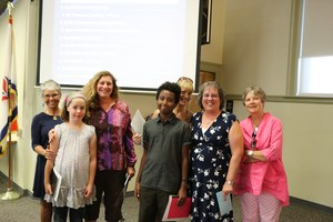 Students and staff from Shared School recognized at the September board meeting.