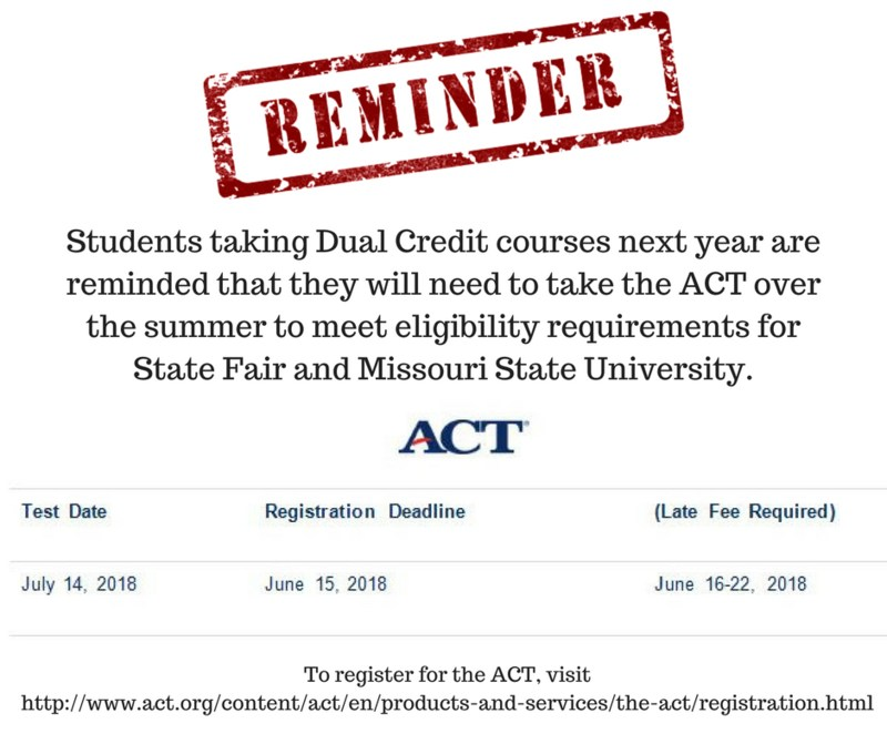 Dual Credit - ACT Reminder Featured Photo