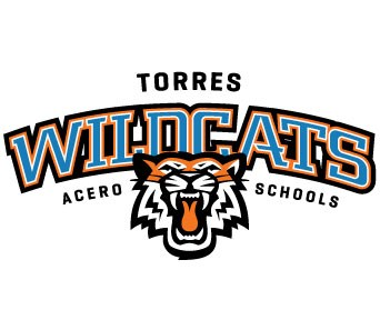 The Torres logo shows the face of a growling wildcat in front of the word wildcats.