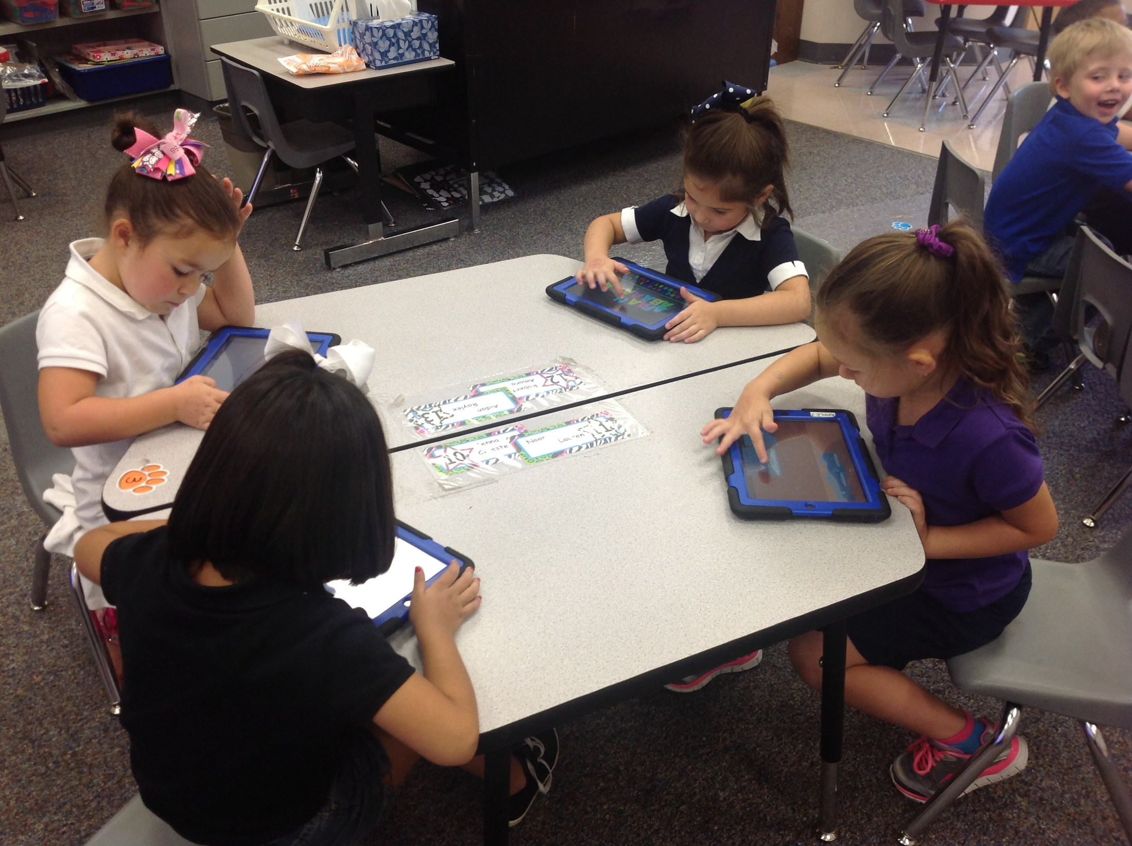 Students working with iPads