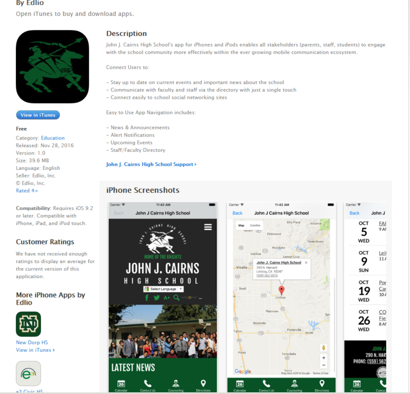 Stay Connected! Download our school app! Just type in John J. Cairns High School in the App Store app! Thumbnail Image
