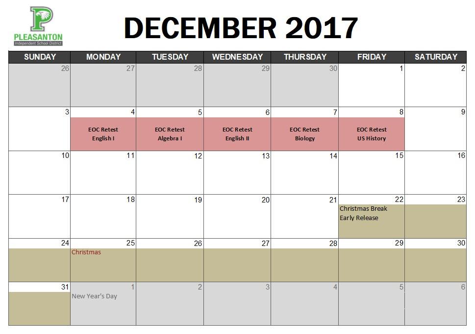 December Assessment Calendar