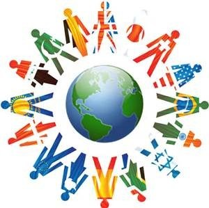 Globe with international people