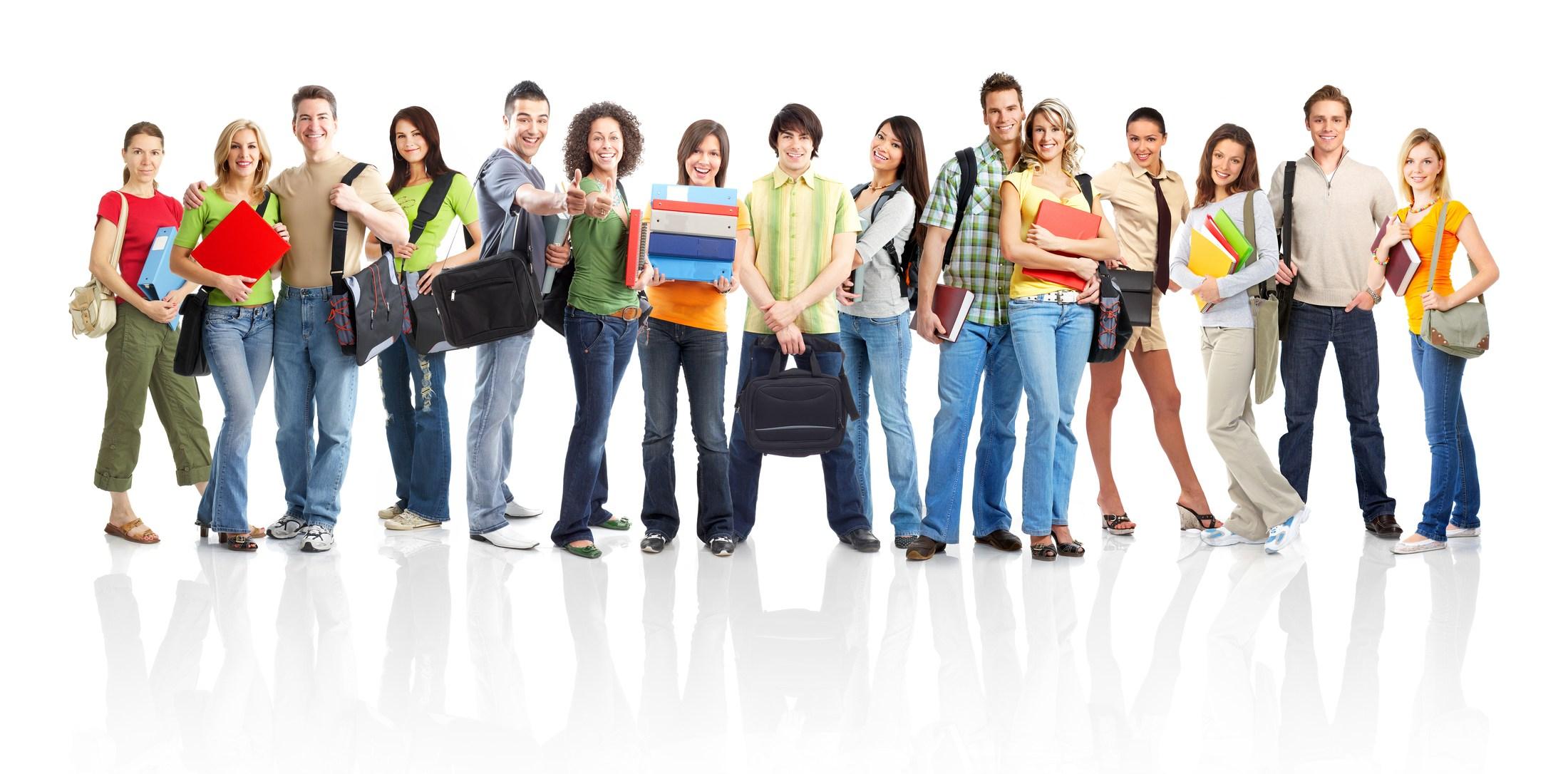 Adolescent students standing